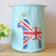 Корзина для игрушек, белья, хранения на завязках Британская лошадка, голубой (код товара: 39681)