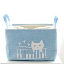 Корзина для игрушек, белья, хранения на завязках Кот Пианист, голубой (код товара: 43485)