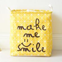 Корзина для игрушек, белья, хранения на завязках Улыбка, желтый (код товара: 43460)