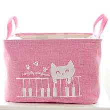 Кошик для іграшок, білизни, зберігання на зав'язках Кот піаніст, рожевий оптом (код товара: 43483)