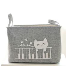 Кошик для іграшок на зав'язках Кіт Піаніст, сірий оптом (код товара: 43484)