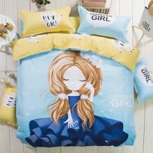 Комплект постельного белья Девушка - одуванчик (полуторный) (код товара: 43866)
