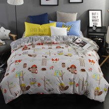 Комплект постельного белья Лесные животные (полуторный) (код товара: 44419)