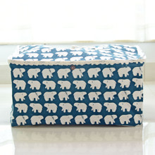 Корзина для игрушек, белья, хранения с крышкой Белые медведи (код товара: 44523)