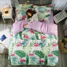 Комплект постельного белья Фламинго в зелени (двуспальный-евро) (код товара: 44720)