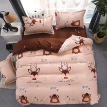 Комплект постельного белья Олень и медведь (двуспальный-евро) (код товара: 44975)