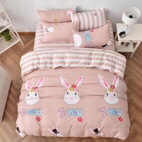 Уценка (дефекты)! Комплект постельного белья Любящий кролик (полуторный) (код товара: 44922): купить в Berni