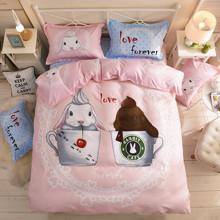 Комплект постельного белья Кроличье кафе (двуспальный-евро) (код товара: 45003)