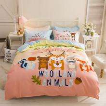 Комплект постельного белья Лесные животные (двуспальный-евро) (код товара: 45005)