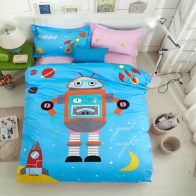 Комплект постельного белья Робот в космосе (полуторный) (код товара: 45073): купить в Berni