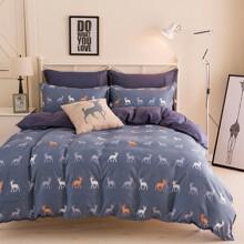 Комплект постельного белья Северный олень (двуспальный-евро) (код товара: 45032)
