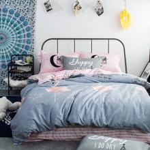 Комплект постельного белья Розовый фламинго (двуспальный-евро) (код товара: 45125)