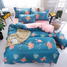 Уценка (дефекты)! Комплект постельного белья Фламинго и цветы (двуспальный-евро) (код товара: 45153)