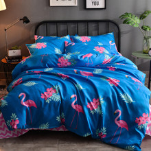 Уценка (дефекты)! Комплект постельного белья Фламинго и зигзаги (двуспальный-евро) (код товара: 45154)