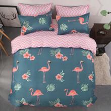 Уценка (дефекты)! Комплект постельного белья Фламинго и зигзаги (двуспальный-евро) (код товара: 45168)