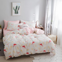 Комплект постельного белья Фламинго и ананас (двуспальный-евро) (код товара: 45250)