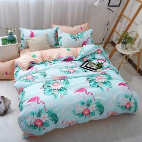 Комплект постельного белья Фламинго в цветах (двуспальный-евро) (код товара: 45263): купить в Berni