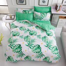 Комплект постельного белья Тропическая листва (двуспальный-евро) (код товара: 45267)
