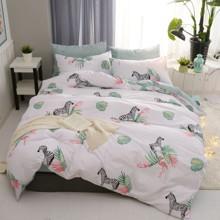 Комплект постельного белья Зебра и фламинго (двуспальный-евро)  (код товара: 45235)
