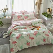 Комплект постельного белья Фламинго в цветах (двуспальный-евро) (код товара: 45302)