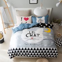Комплект постельного белья  Кошка (двуспальный-евро) оптом (код товара: 45332)