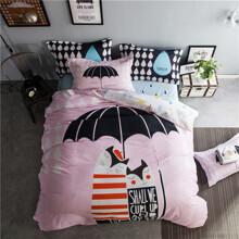 Комплект постельного белья Парочка под зонтом (двуспальный-евро) (код товара: 45361)