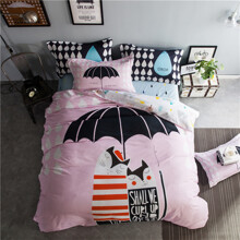 Комплект постільної білизни Парочка під парасолькою (двоспальний-євро) (код товара: 45361)