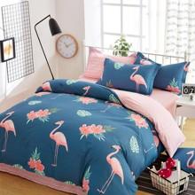 Уценка (дефекты)! Комплект постельного белья Большие фламинго (двуспальный-евро) (код товара: 45393)