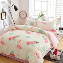 Уценка (дефекты)! Комплект постельного белья Большие фламинго (полуторный) (код товара: 45387)
