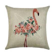 Подушка декоративная Фламинго в цветах 45 х 45 см (код товара: 45962)