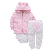 Комплект для дівчинки велюровий 3 в 1 Рожевий ведмедик оптом (код товара: 46062)