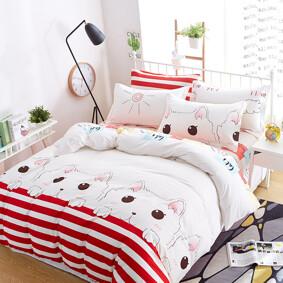 Уценка (дефекты)! Комплект постельного белья Милый кот (двуспальный-евро) (код товара: 46013): купить в Berni