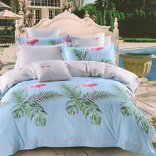 Комплект постельного белья Фламинго и листва (двуспальный-евро) оптом (код товара: 46181)