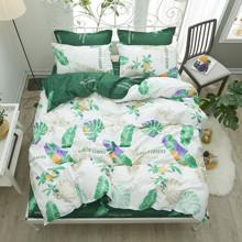 Комплект постельного белья Зеленая листва (двуспальный-евро) (код товара: 46116)
