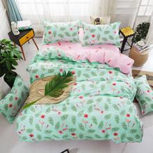 Уценка (дефекты)! Комплект постельного белья Фламинго в папоротниках (полуторный) (код товара: 46239)