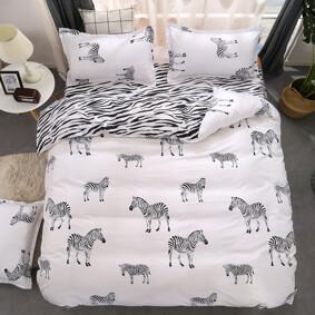 Уценка (дефекты)! Комплект постельного белья Zebra (двуспальный-евро) оптом (код товара: 46258): купить в Berni