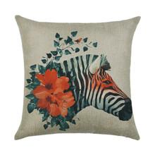 Подушка декоративная Зебра и цветы 45 х 45 см оптом (код товара: 46340)