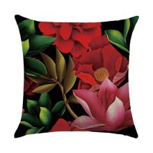Подушка декоративная Красные цветы 45 х 45 см (код товара: 46437)