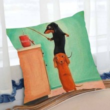Подушка декоративная Таксы на рыбалке 45 х 45 см оптом (код товара: 46421)