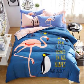 Уценка (дефекты)! Комплект постельного белья Фламинго и пингвин (полуторный) (код товара: 46540): купить в Berni