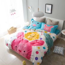 Уценка (дефекты)! Комплект постельного белья Кролик и цыпленок (полуторный) (код товара: 46538)