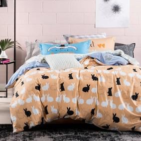 Уценка (дефекты)! Комплект постельного белья Кролики (двуспальный-евро) (код товара: 46523): купить в Berni