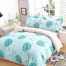 Уценка (дефекты)! Комплект постельного белья Тропические листья (двуспальный-евро) (код товара: 46525)
