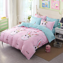 Уценка (дефекты)! Комплект постельного белья Влюбленный кролик (двуспальный-евро) (код товара: 46529)