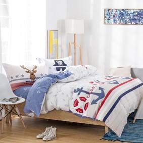 Уценка (дефекты)! Комплект постельного белья Якорь (двуспальный-евро) (код товара: 46524): купить в Berni