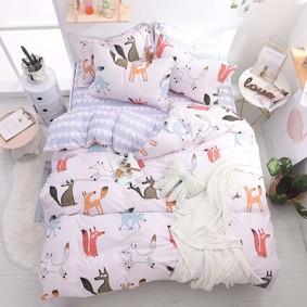 Комплект постельного белья Лисье семейство (двуспальный-евро) (код товара: 46788): купить в Berni