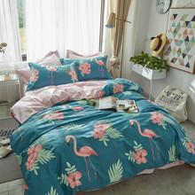 Уценка (дефекты)! Комплект постельного белья Фламинго в цветах (двуспальный-евро) (код товара: 46866)