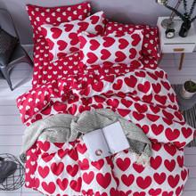 Комплект постельного белья Красное сердце (двуспальный-евро) (код товара: 47043)