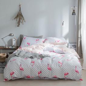 Комплект постельного белья Фламинго с горошком (двуспальный-евро) (код товара: 47281): купить в Berni