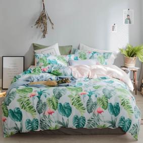 Комплект постельного белья Фламинго в джунглях (двуспальный-евро) (код товара: 47279): купить в Berni